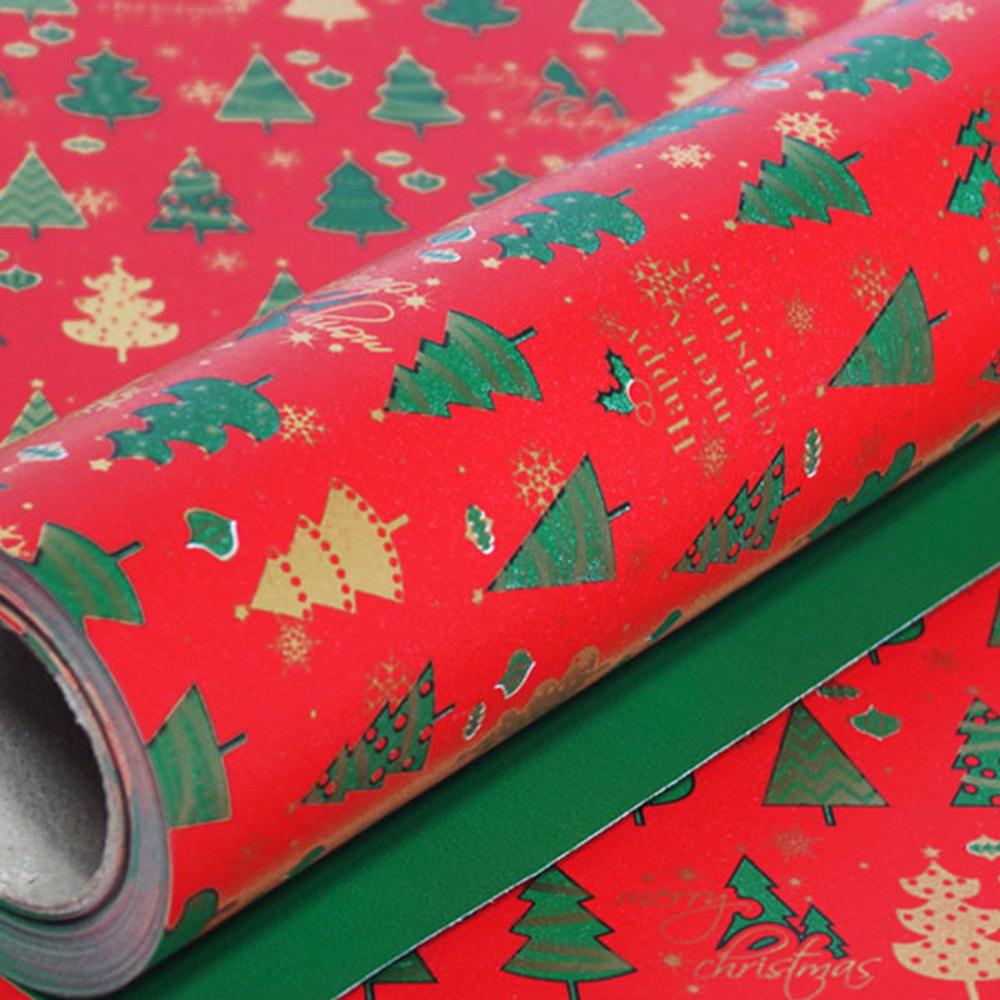 솔로몬샵 디자인랩 크리스마스 종이롤포장지, 트리 적색, 1개