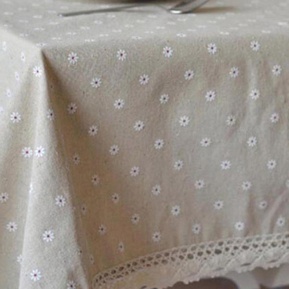 마켓감성 코튼 플라워패턴 테이블 보 2인용, 흰꽃, 90 x 90 cm