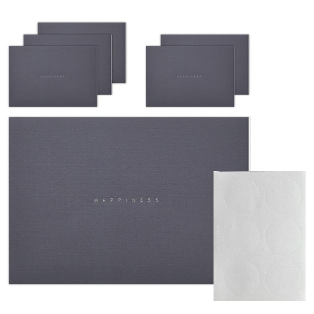 왈가닥스 해피니스 파스텔 컬러 봉투 6p + 스티커 6p, 08 네이비, 1세트