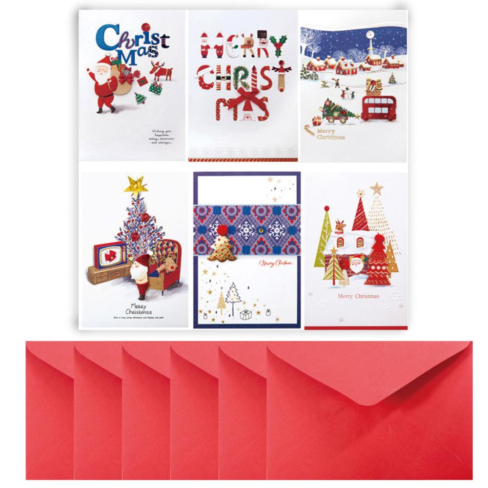 프롬앤투 풍경트리 크리스마스카드 6종 세트 FS1024, 혼합 색상, 1세트