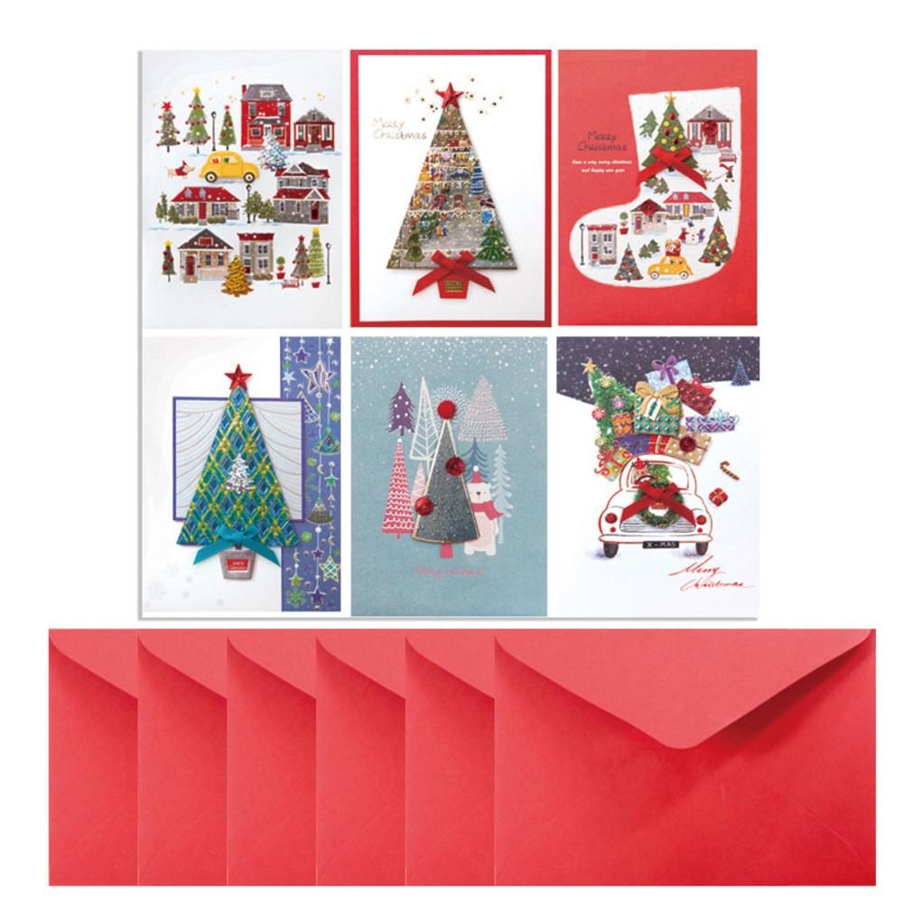 프롬앤투 산타트리 크리스마스카드 6종 세트 FS1025, 혼합 색상, 1세트