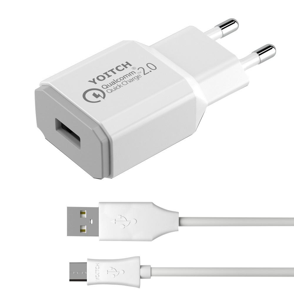 요이치 퀵차지 2.0 리버스 USB 어답터 충전기 화이트 + 마이크로 5핀 케이블 1m, 1세트