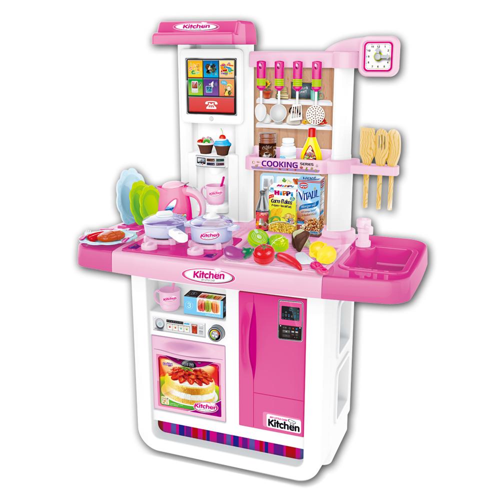 아가플러스 물나오는 터치스크린 초대형 키친 놀이세트, Pink
