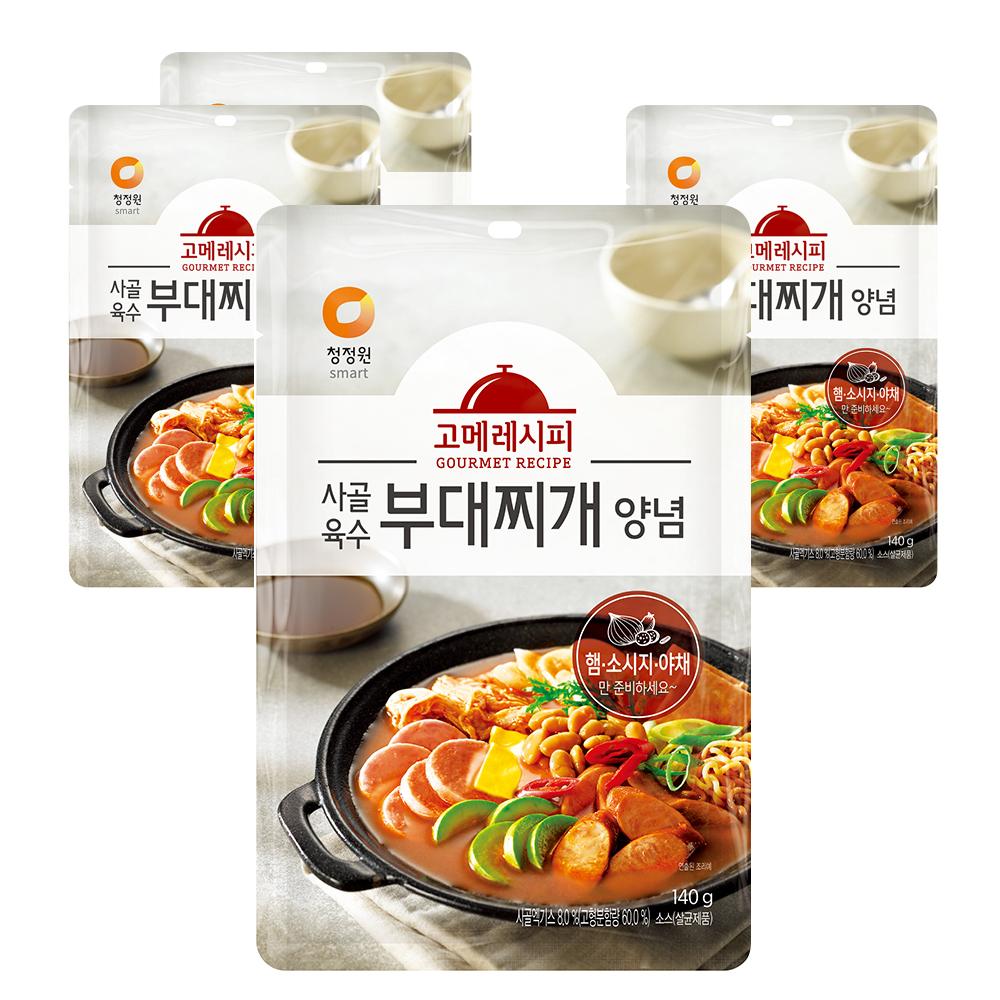 청정원 사골육수 부대찌개 양념, 140g, 4개