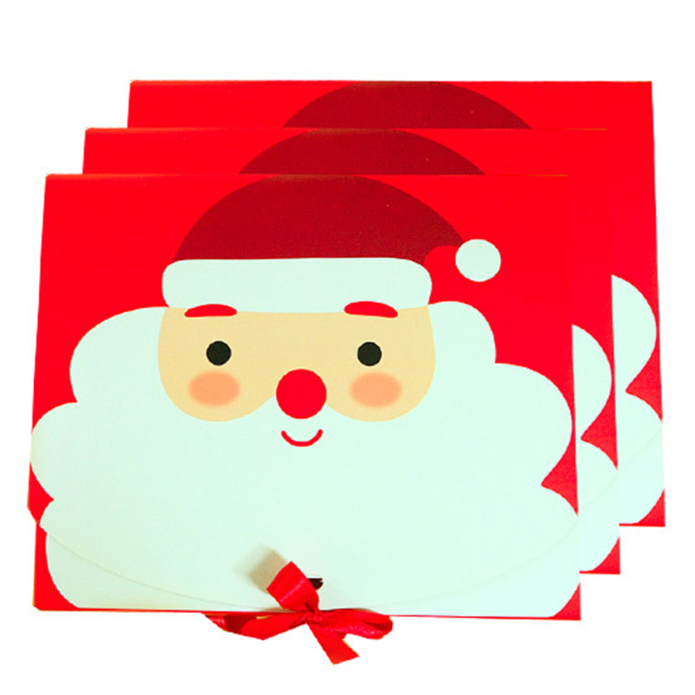 크리스마스 선물상자 산타 중 3p + 리본 3p, 레드, 1세트