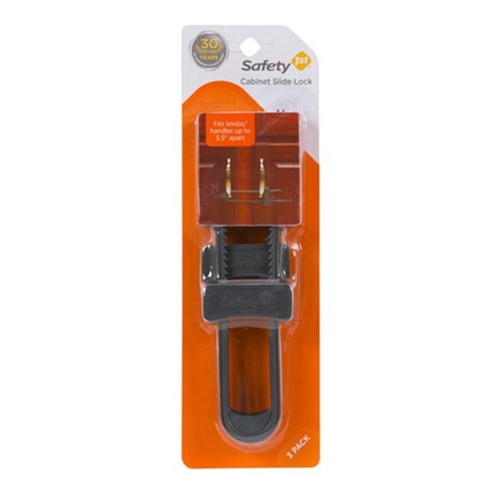 세이프티퍼스트 캐비닛 슬라이드 락 유아 안전 잠금장치, 그레이, 3개입