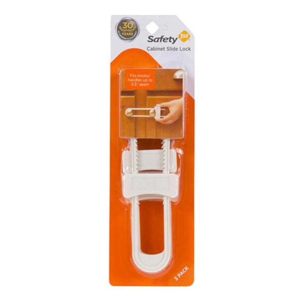 세이프티퍼스트 캐비닛 슬라이드 락 유아 안전 잠금장치, 화이트, 3개입