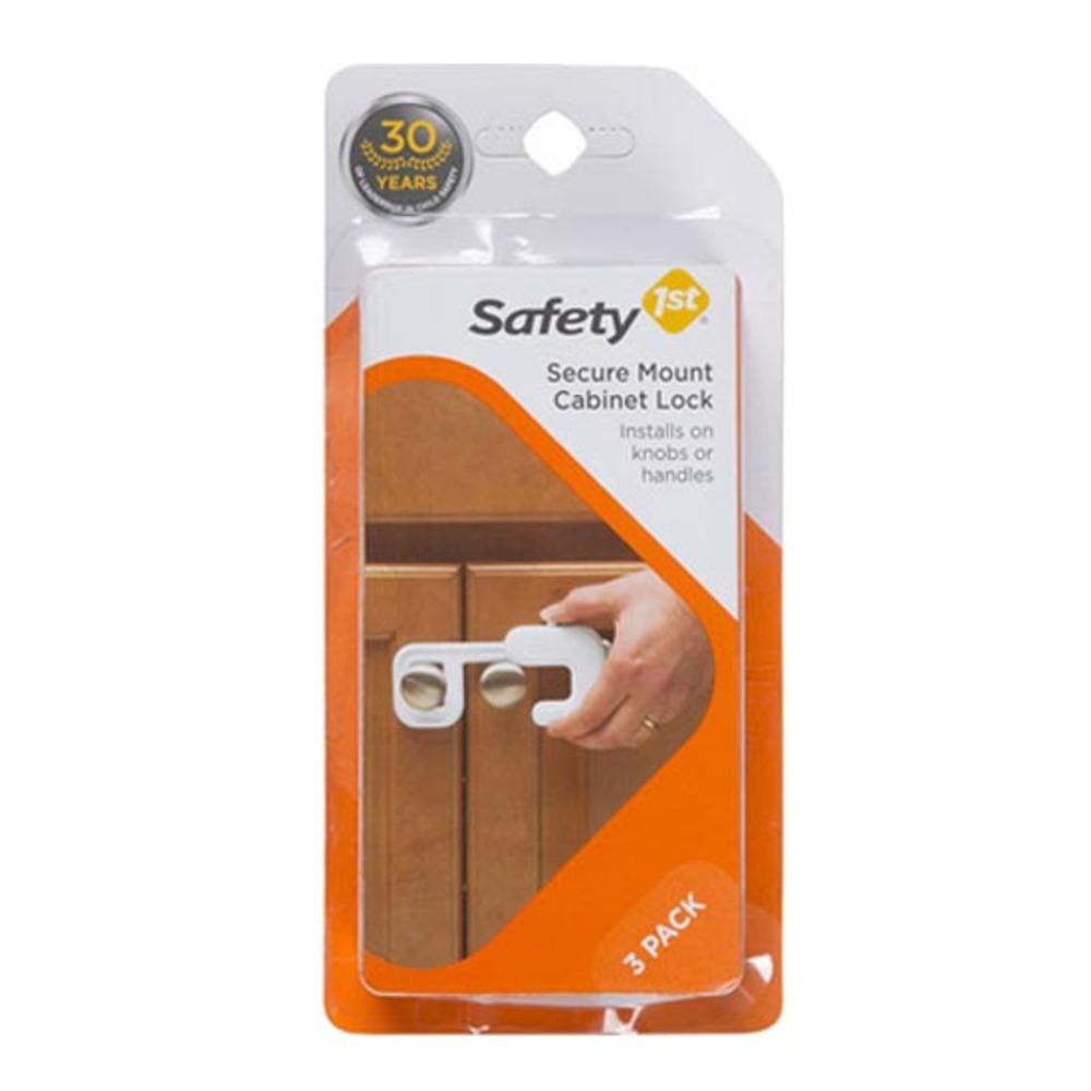 세이프티퍼스트 서큐어마운트 캐비닛 락 유아 안전 잠금장치, 화이트, 3개입