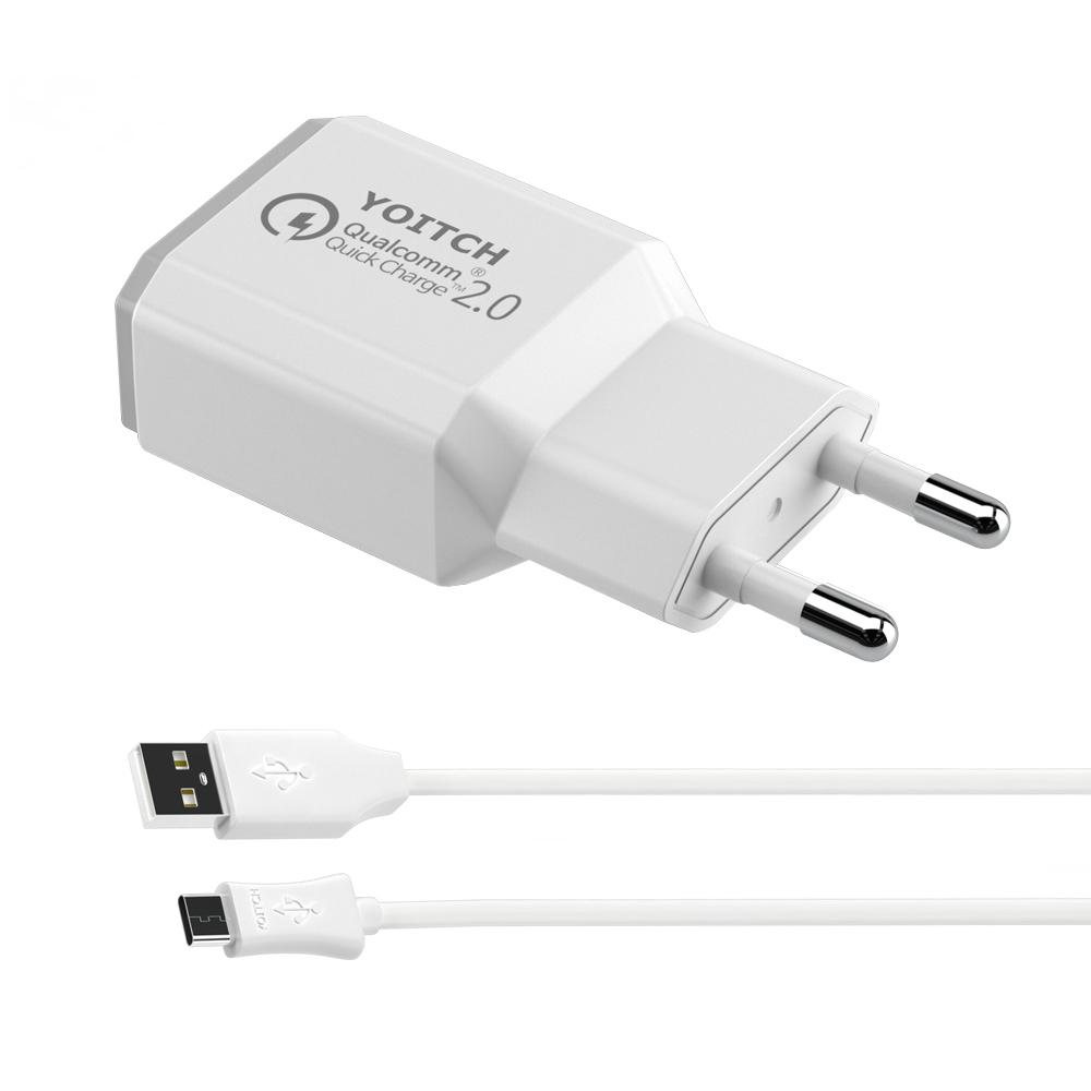 요이치 퀄컴 2.0 리버스 고속 USB 충전기 CTC-QC20 + C타입 케이블 2.0m, 1세트