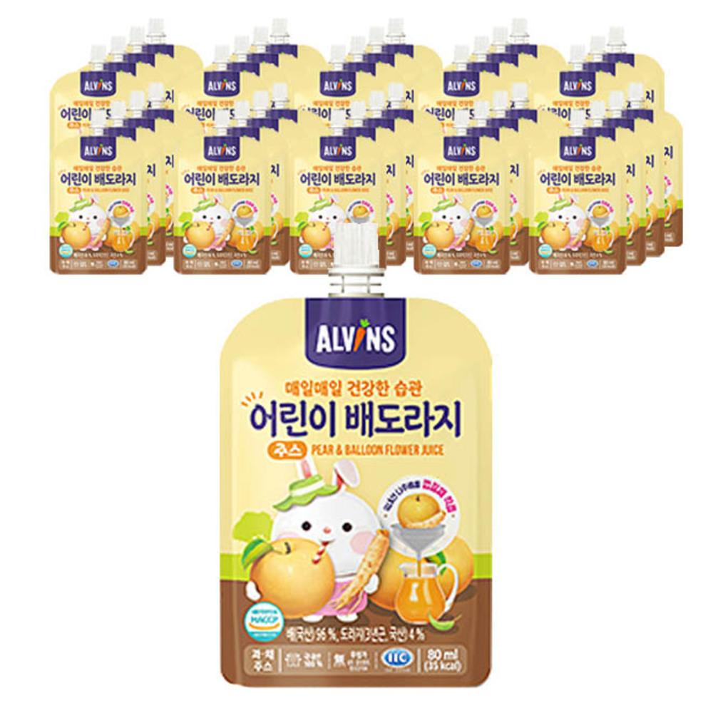 엘빈즈 매일 매일 건강한 습관 어린이 주스 80ml, 배 + 도라지 혼합맛, 40개입