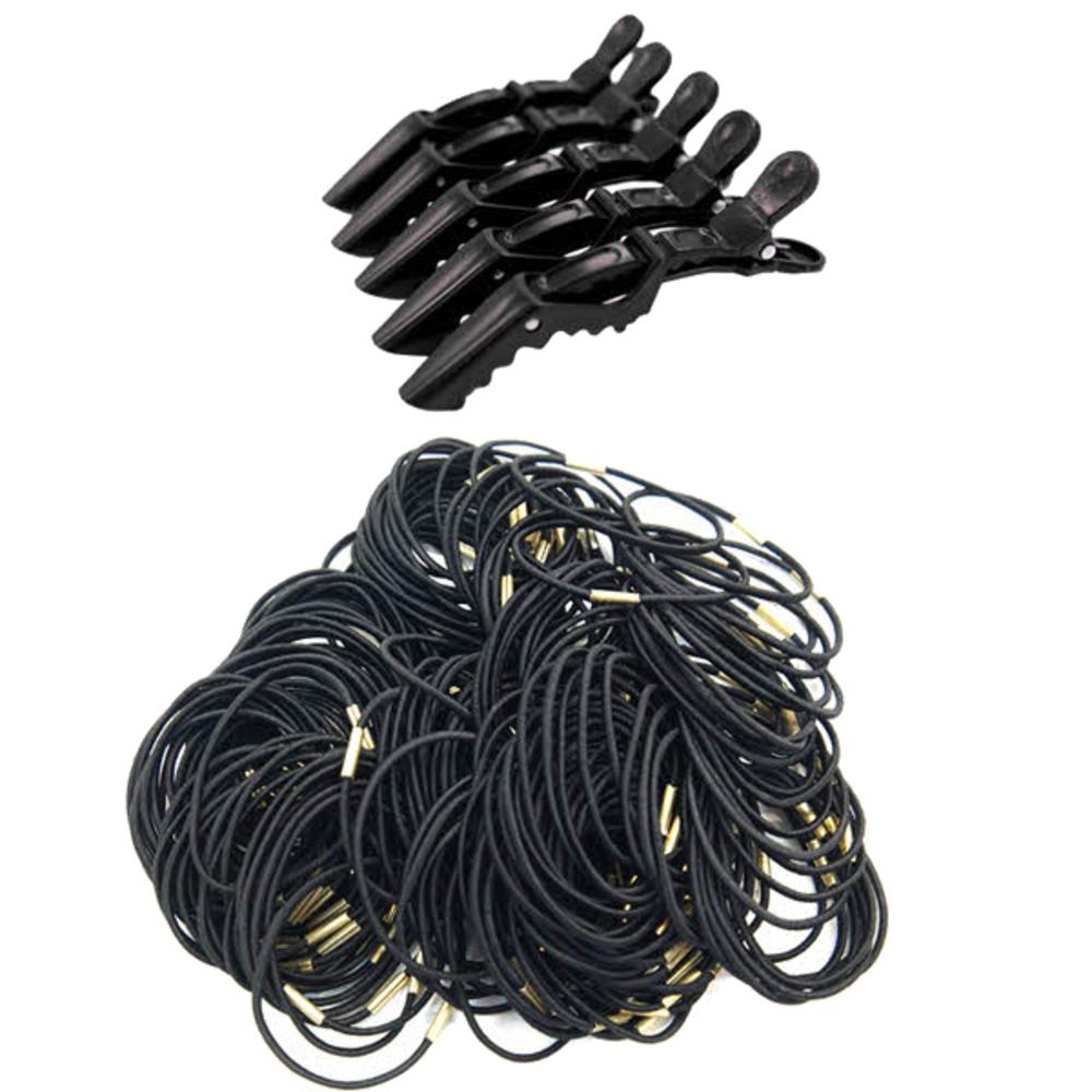 루머스 컬러풀 악어핀 HU094 5p + 슬림 머리끈 블랙 HU095 100p, 1세트