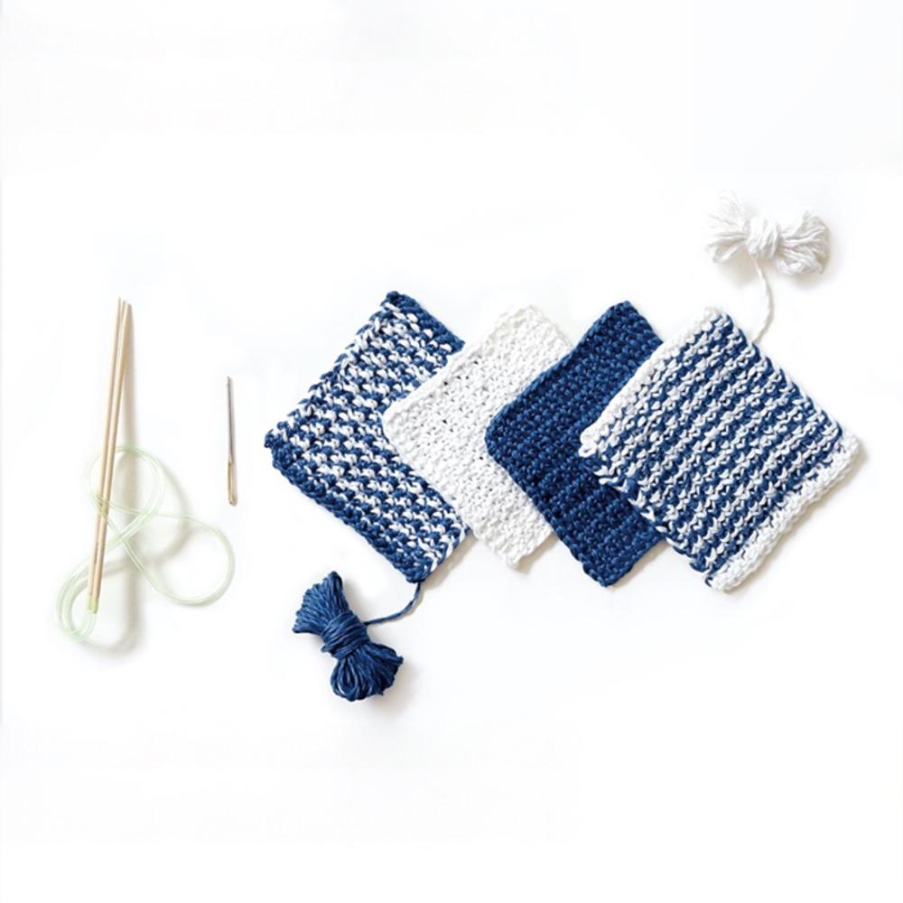 멜로우 사각 컵받침 뜨개질 키트, 화이트 + 블루, 1세트