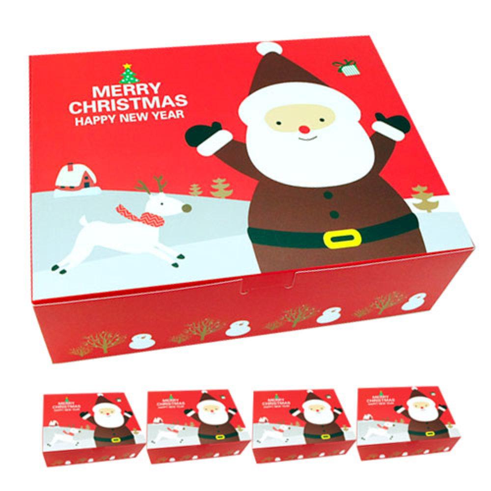 도나앤데코 크리스마스 선물 포장상자 산타 원터치박스 대, 레드, 5개입