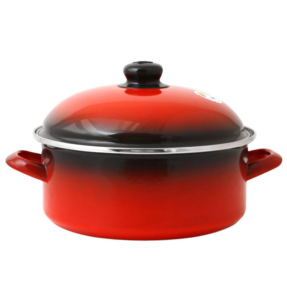 ELO 쿡포트 낮은형 양수냄비, 24cm, 빨강