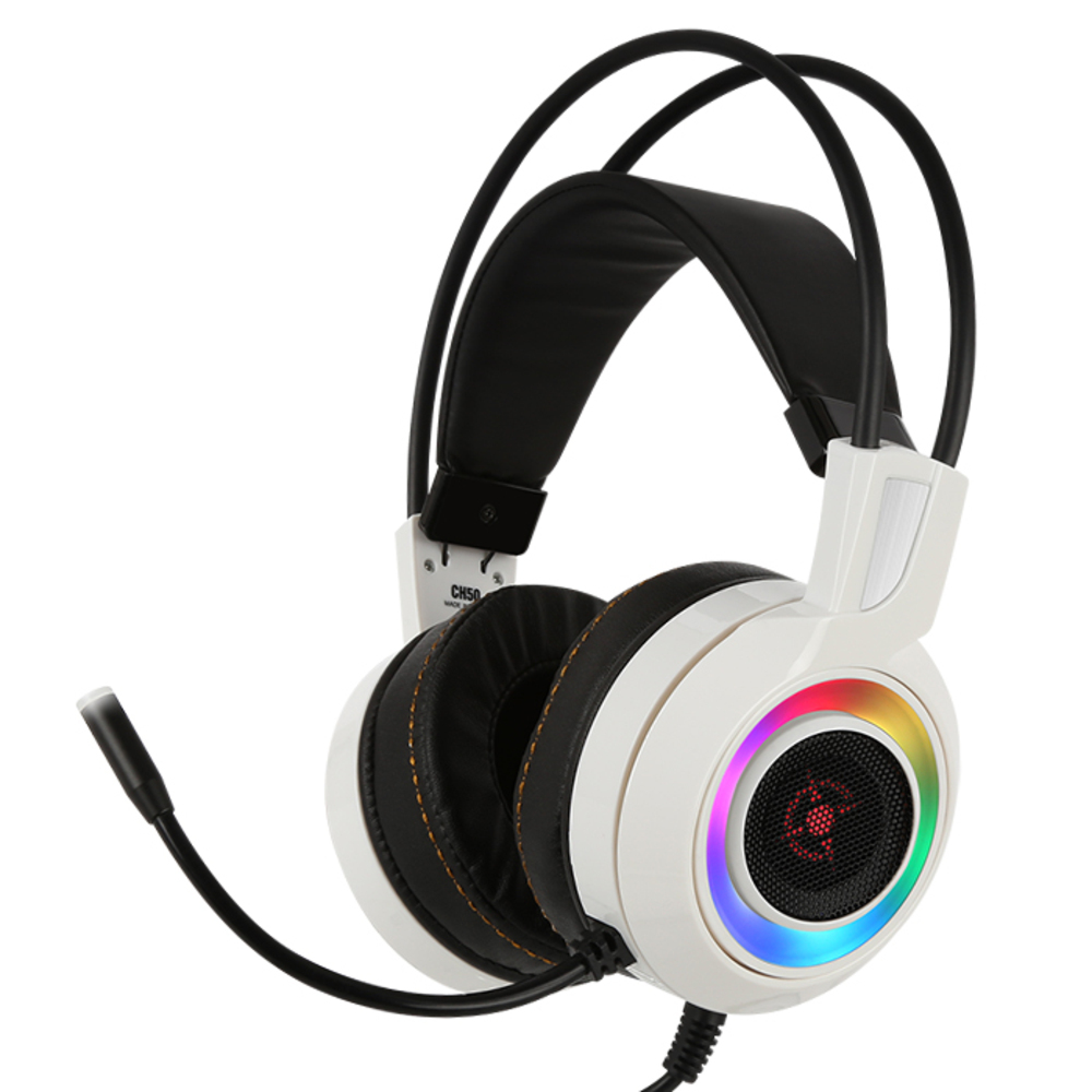 COX 가상 7.1 진동 RGB LED 게이밍 헤드셋, COX CH50, 화이트