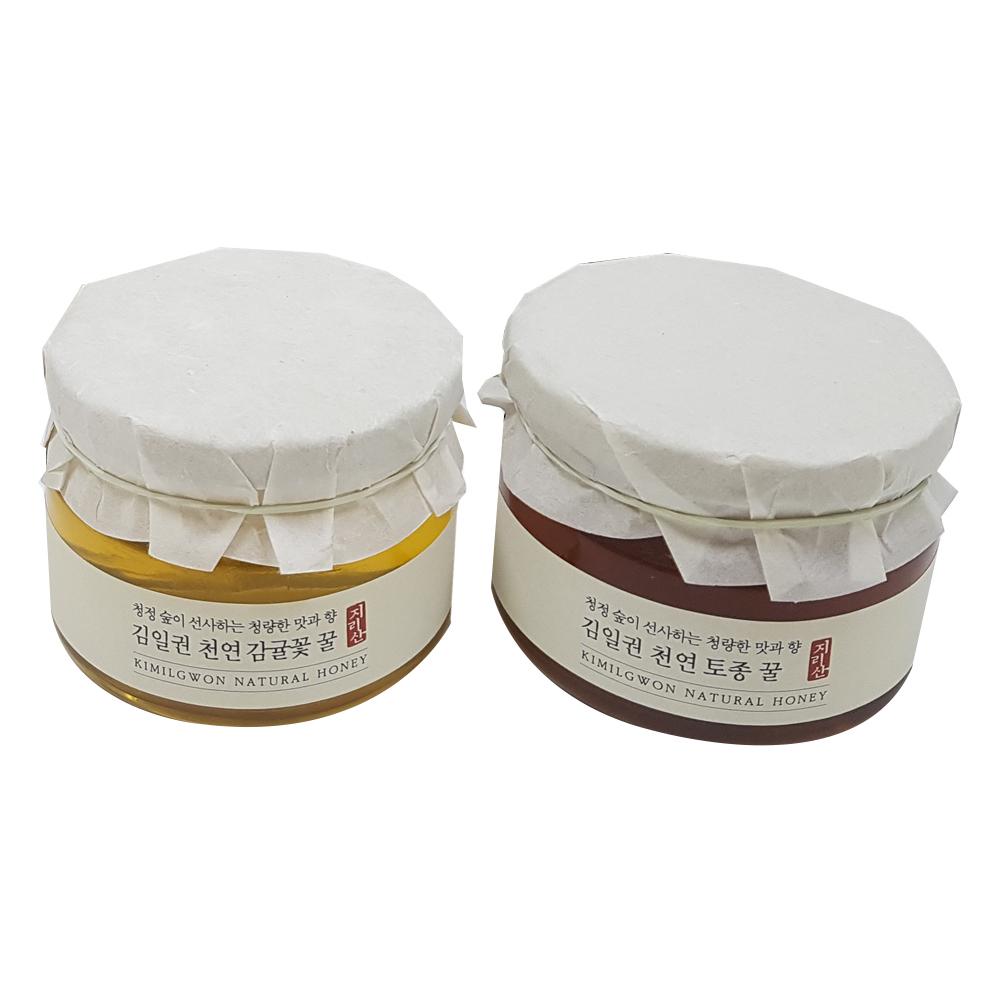 김일권천연벌꿀 지리산 한봉 벌꿀 선물세트, 1세트, 감귤꿀 450g + 토종꿀 450g