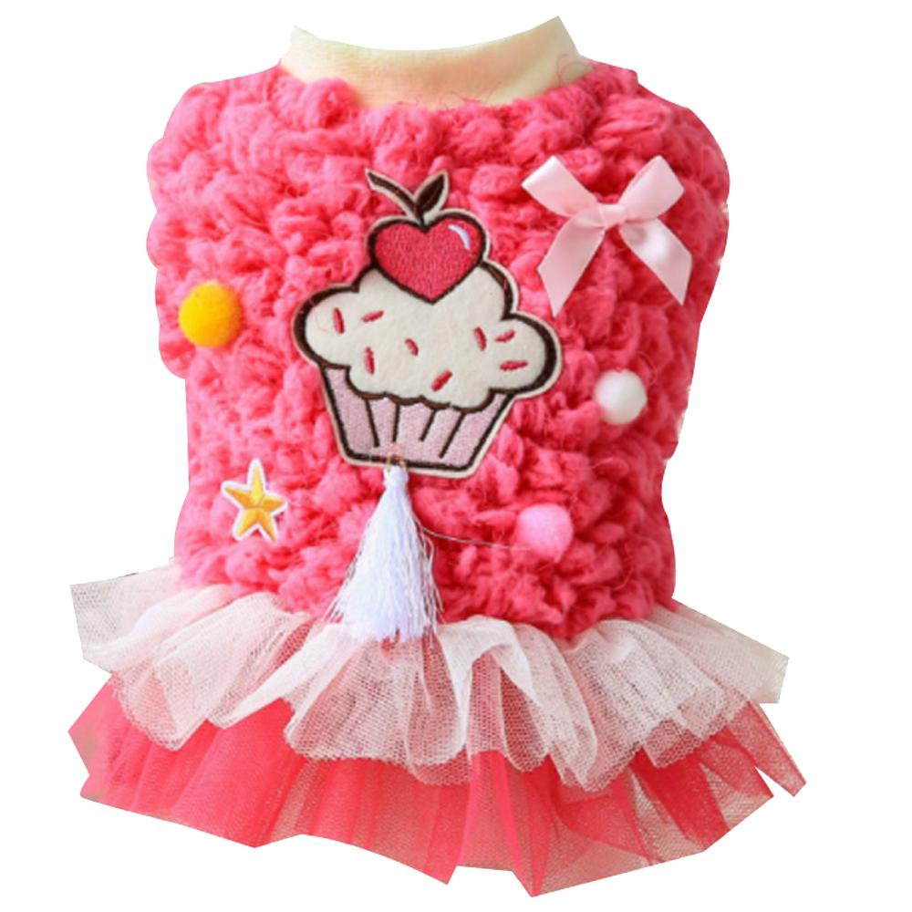 이코디 고양이 & 강아지 컵케익 기모 원피스, 핑크