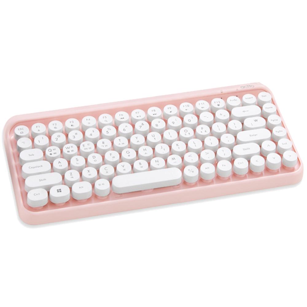 엑토 레트로 미니 블루투스 무선 키보드, BTK-01, 핑크