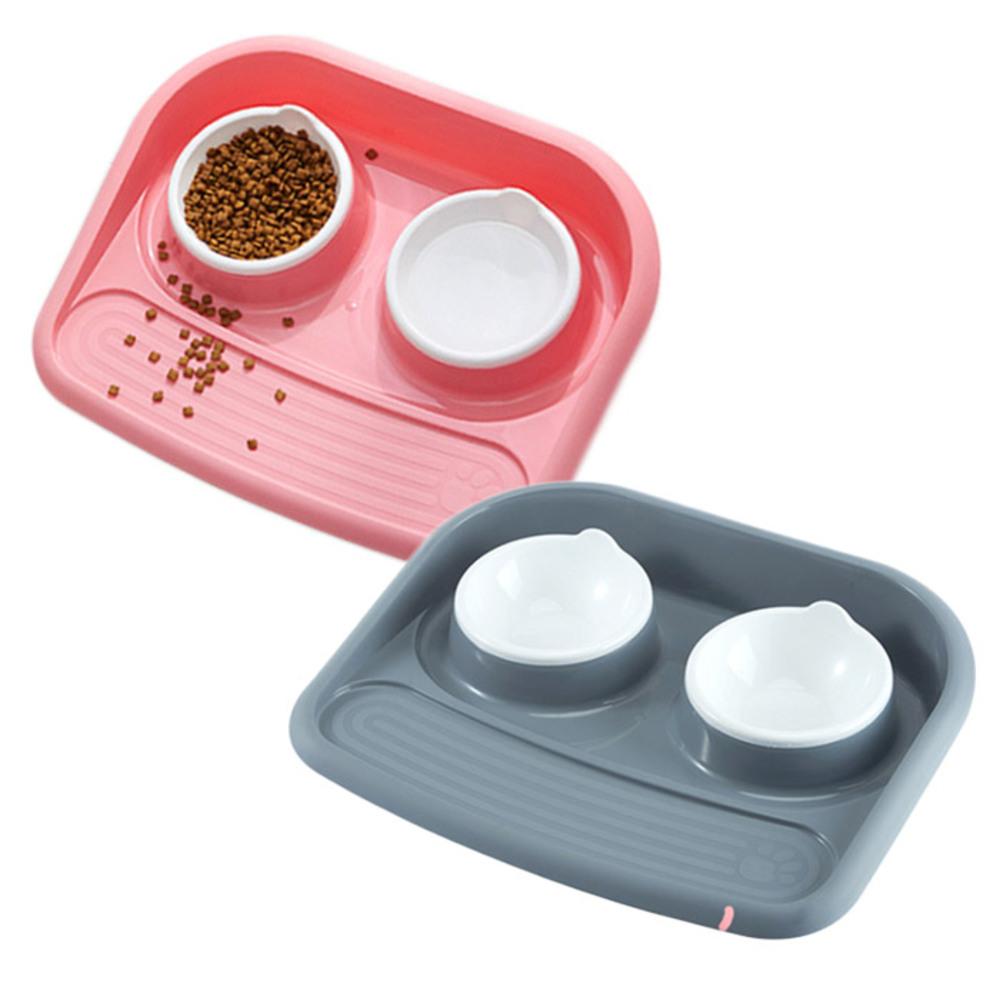 아리코 고양이 & 강아지 이중 튀김 방지 식판 2p, 그레이, 핑크, 1세트