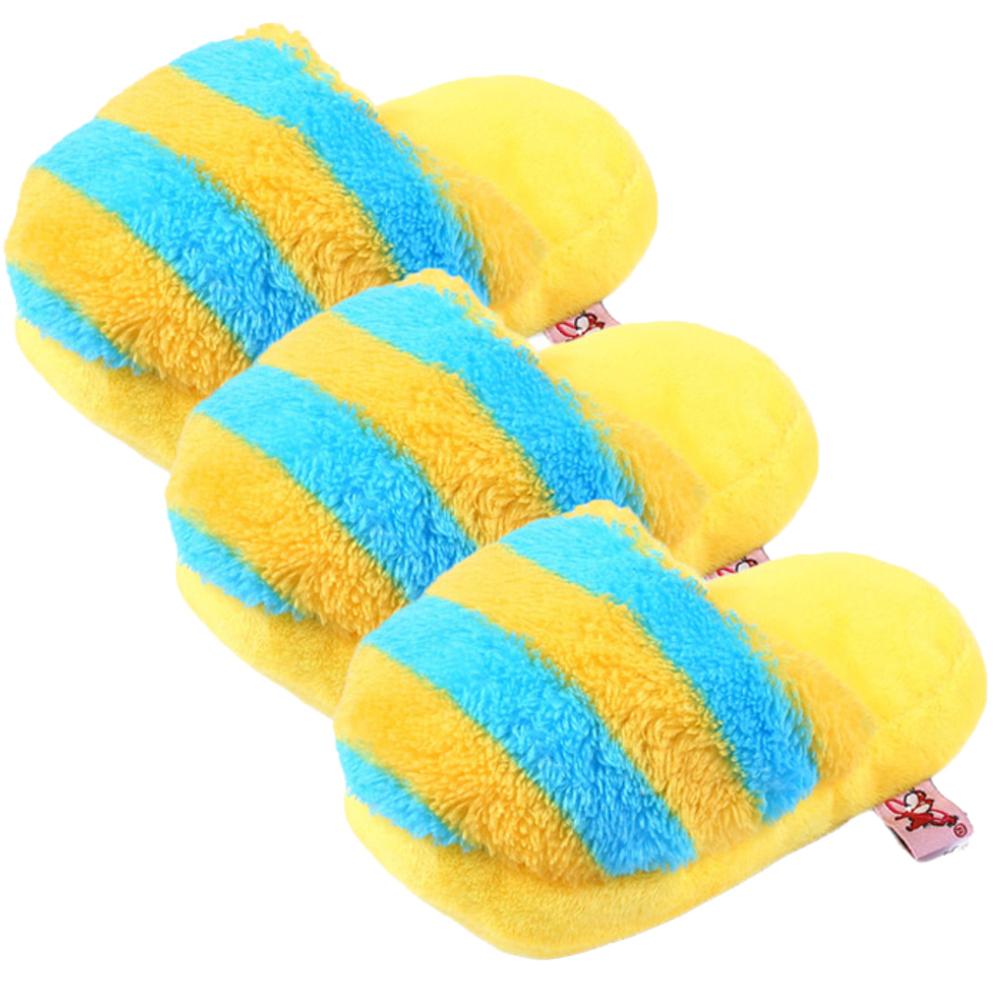 댕댕이샵 반려동물 퍼니 슬리퍼 장난감 17cm, 옐로우블루, 3개입