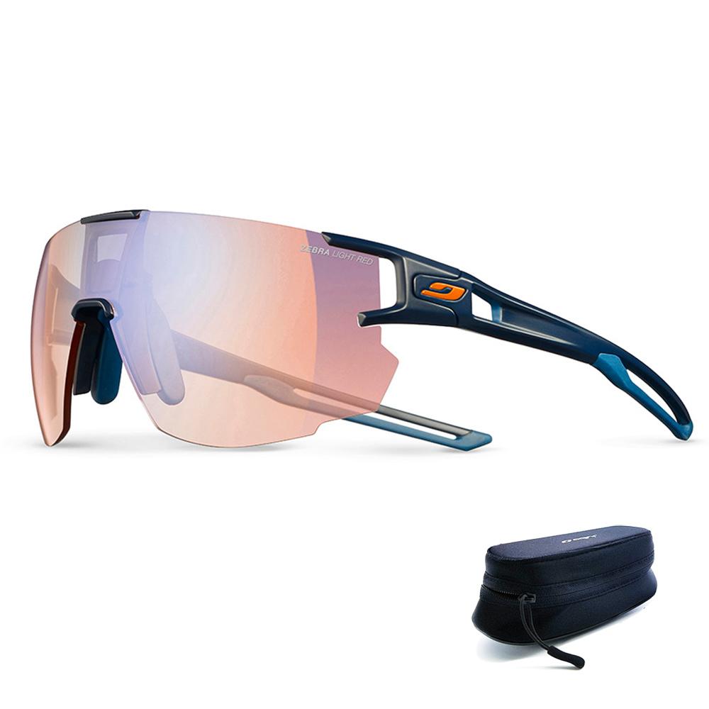 줄보 에어로 스피드 스포츠 선글라스 28g + 파우치 + 케이스, 프레임(유광 블랙), 변색 렌즈(오렌지)
