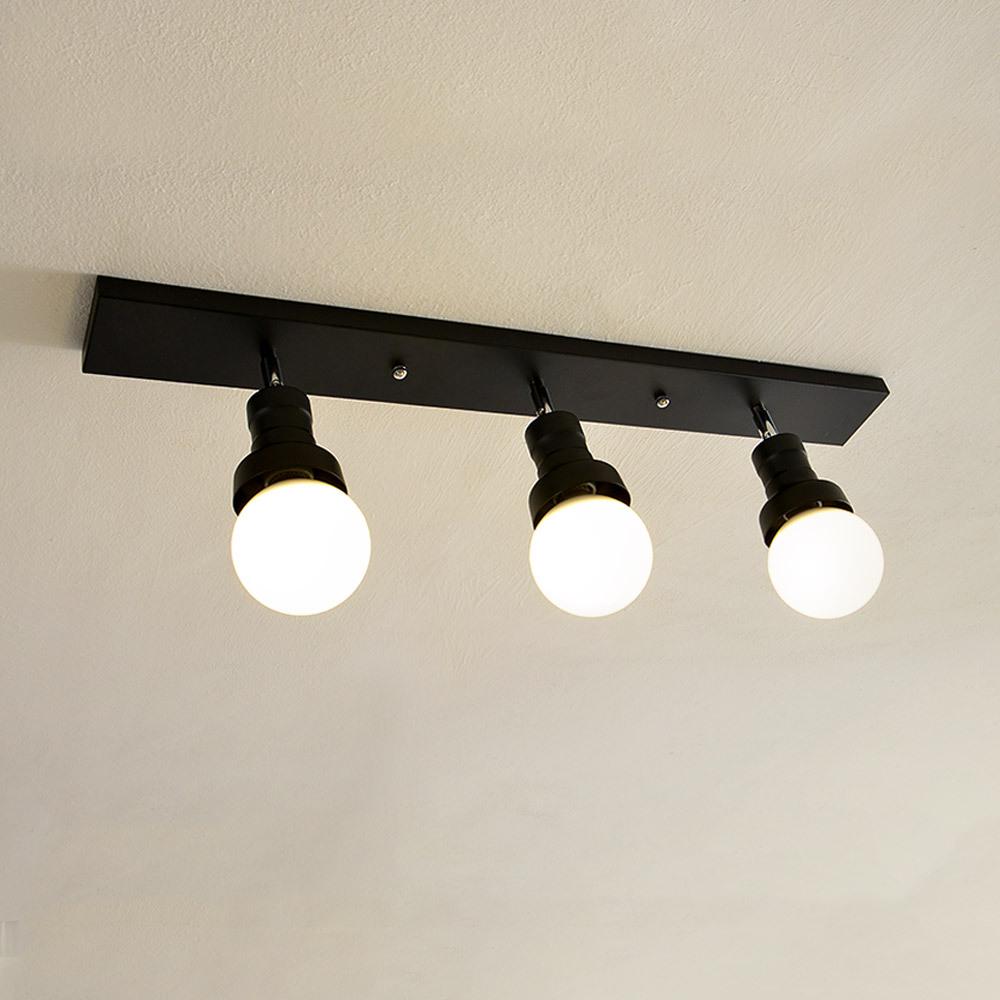 투플레이스 밀크 3등 직부 천장등, 블랙