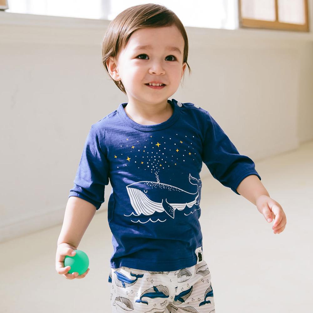 보보 아동용 무형광 반짝반짝 고래 7부 자가드 실내복 상하의 세트