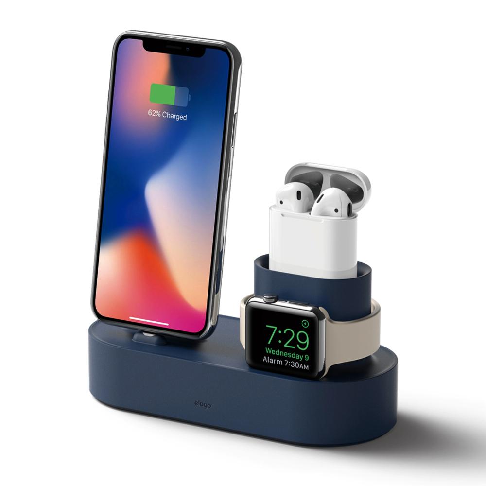 엘라고 아이폰 에어팟 애플워치 3 in 1 충전스탠드, 진인디고, 1개