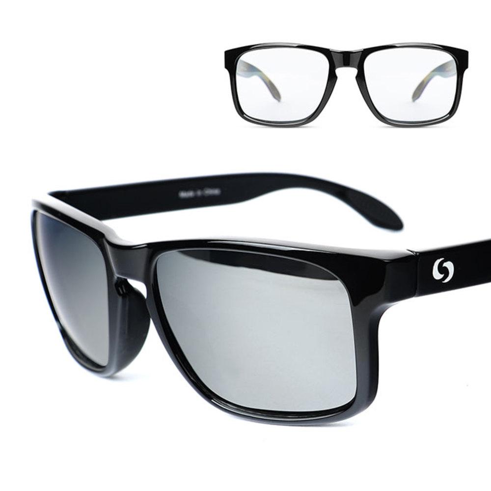 오클랜즈 스포츠 블랙프레임 선글라스 2종 세트 K310, 변색렌즈, 실버밀러편광렌즈
