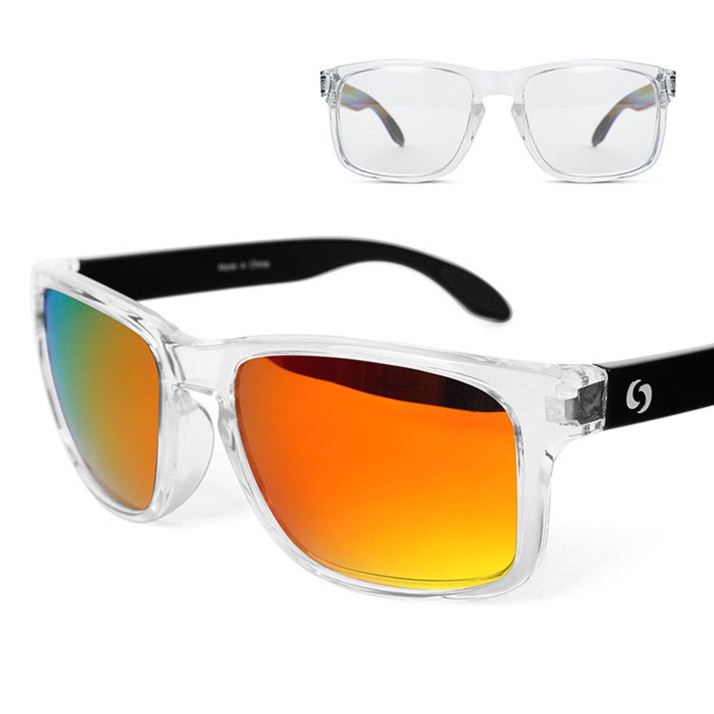 오클랜즈 스포츠 클리어프레임 선글라스 2종 세트 K310, 변색렌즈, 레드밀러편광렌즈