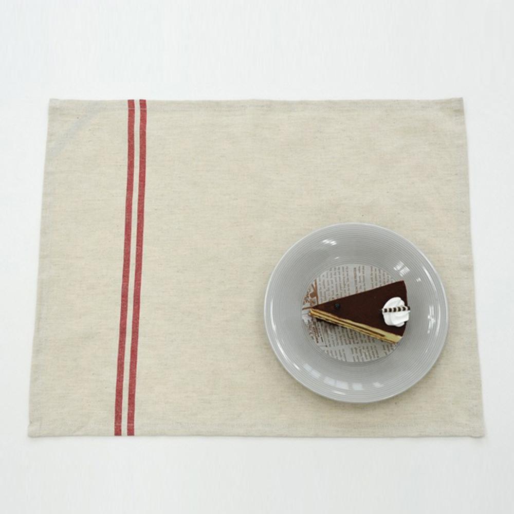 하임앤하임 프렌치 스트라이프 린넨 키친크로스 50 x 40 cm, 내츄럴 레드, 1개