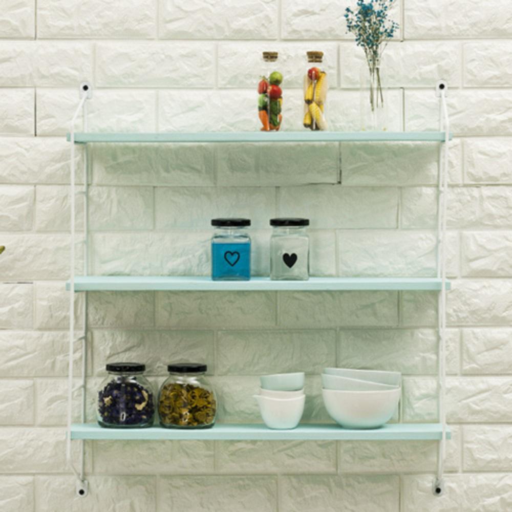 우덴우드 다용도 스트링 원목 벽선반 세트 800, 화이트 + 민트