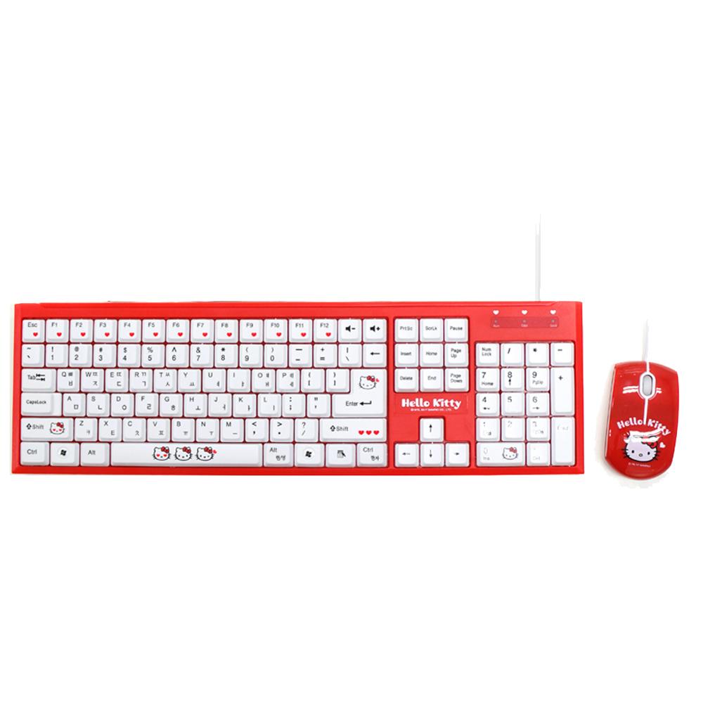 헬로키티 유선키보드 + 마우스 + 실리콘 키스킨 세트, 키보드(DV-KB908), 마우스(DV-MS300), 혼합색상