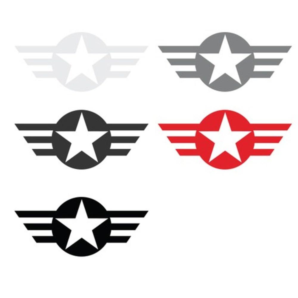 그리븐 미공군 마크 데칼 스티커 S사이즈 50070 다크그레이-20cm 3개 50070