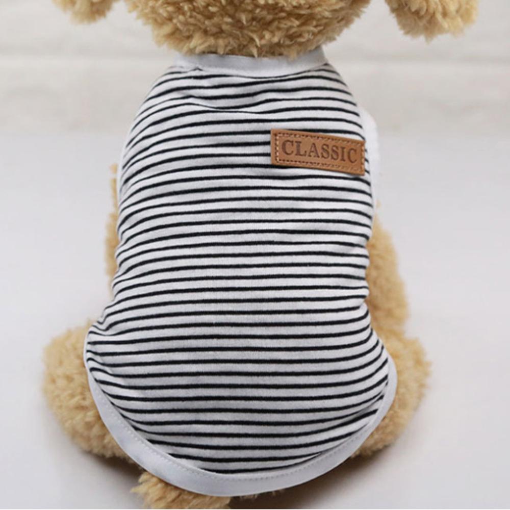 아리코 고양이 앤 강아지 모던 코튼 스트라이프 티셔츠, 블랙