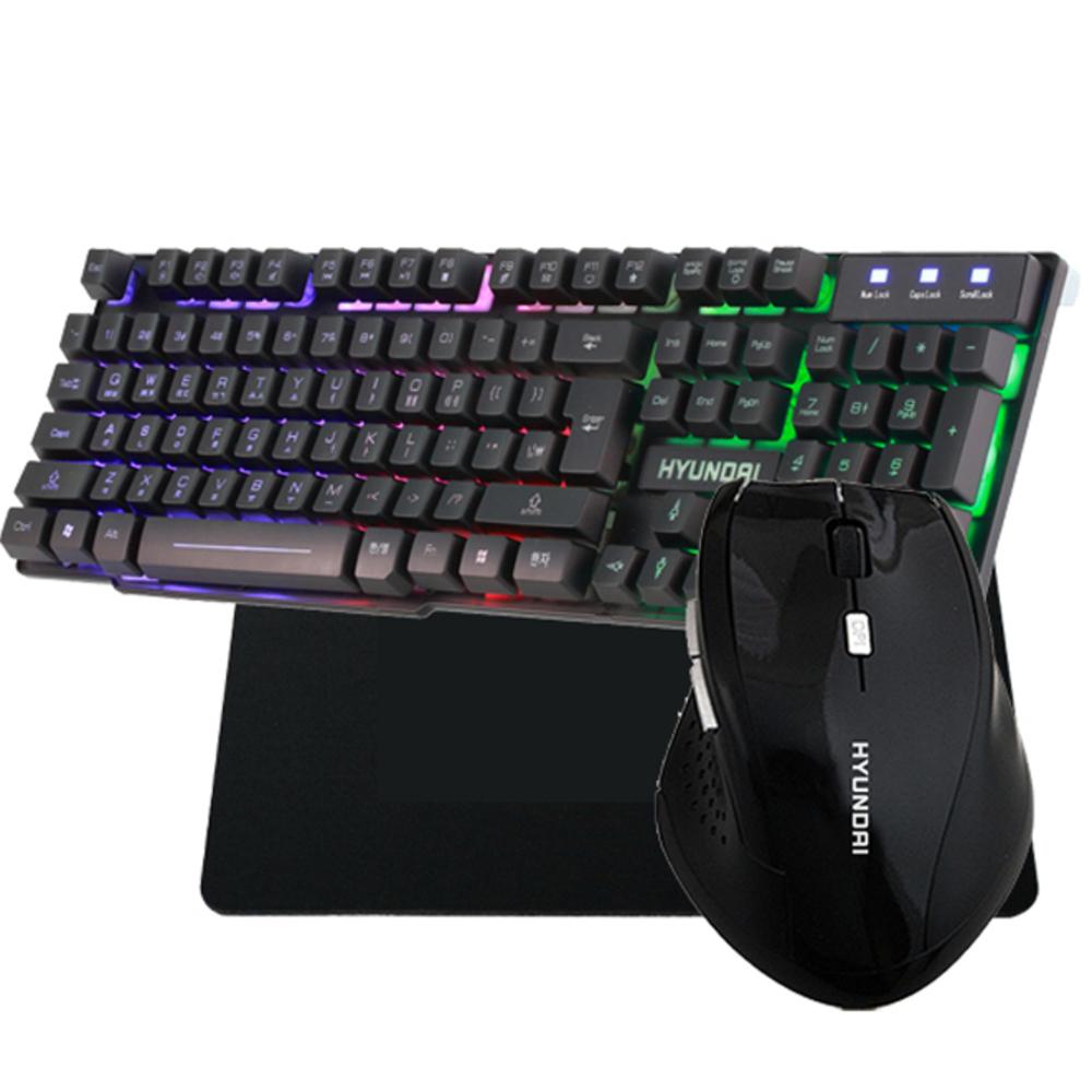 현대 키보드 HD-K2300 LED + 마우스 HD-WM7000 + TRACTER 패드 GSMP-2 세트, HD-K2300 LED(키보드), HD-WM7000(마우스), GSMP-2(패드), 키보드(Black), 마우스(Black), 패드(Black)
