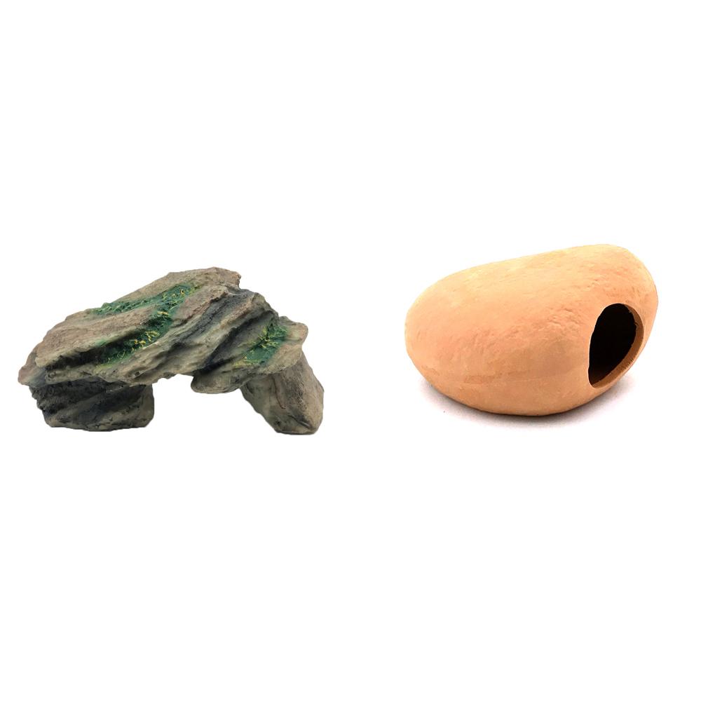 하온펫 수족관 장식용품 고인돌 1 + 디메이 블랙 TW2204, 1세트