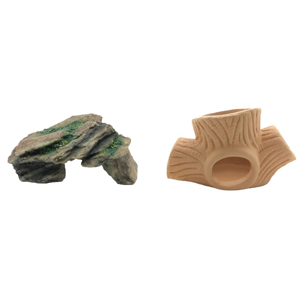 하온펫 수족관 장식용품 고인돌 1 + 나무 놀이터, 1세트