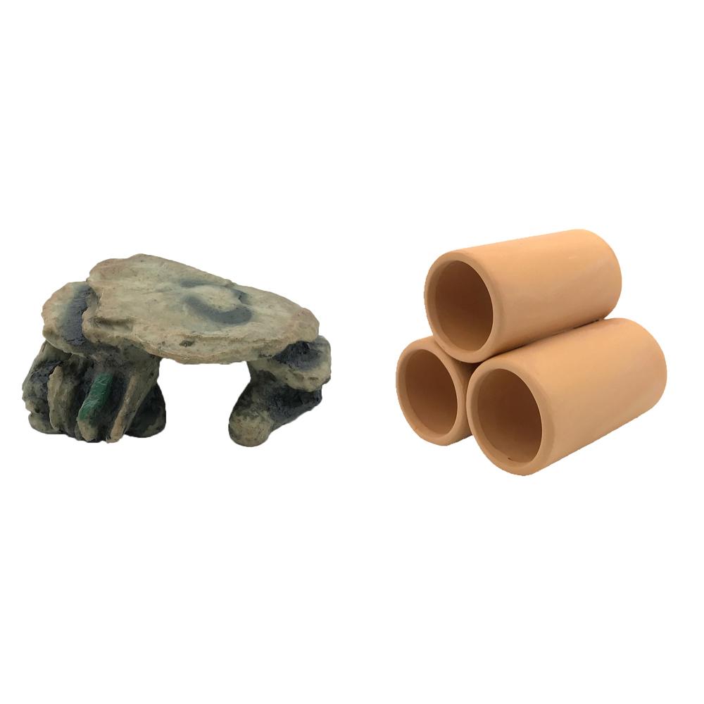 하온펫 수족관 장식용품 고인돌 2 + 황토 3구 대, 1세트