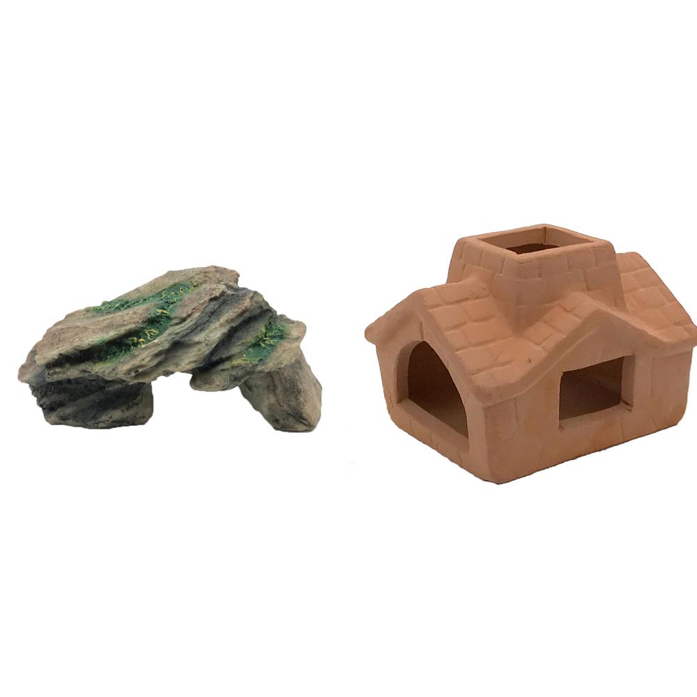 하온펫 수족관 장식용품 고인돌 1 + 굴뚝집 은신처, 1세트