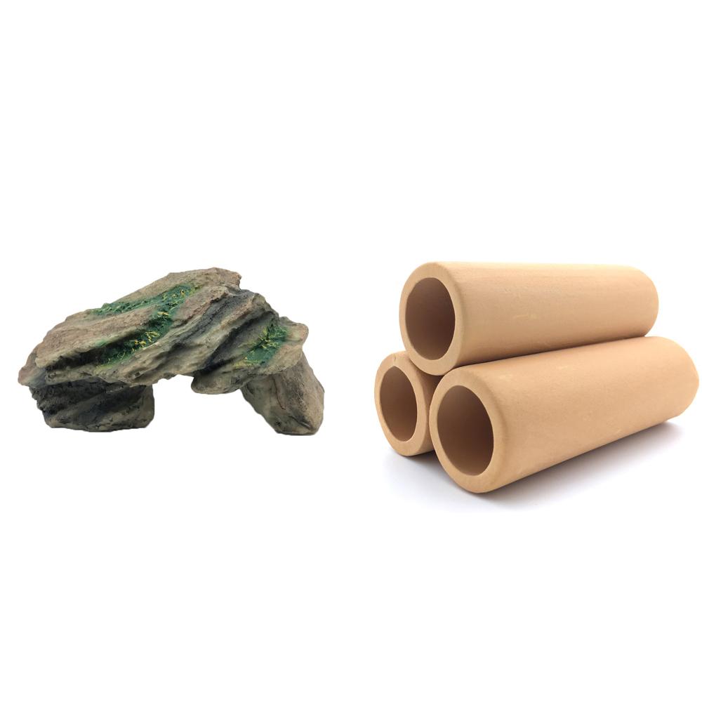 하온펫 수족관 장식용품 고인돌 1 + 황토 3구, 1세트