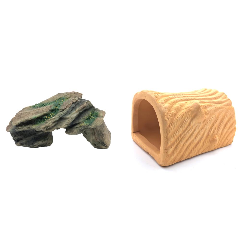 하온펫 수족관 장식용품 고인돌 1 + 반원형 통나무, 1세트