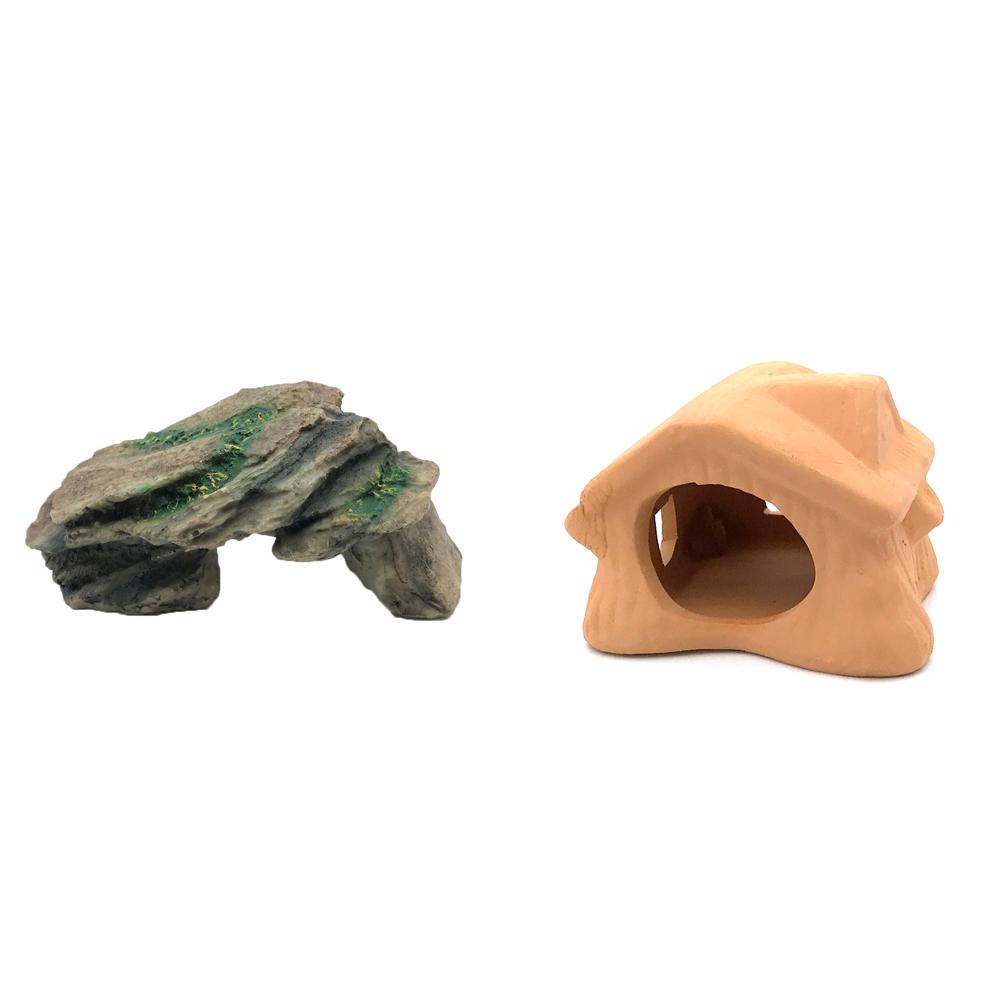 하온펫 수족관 장식용품 고인돌 1 + 초가집 놀이터, 1세트