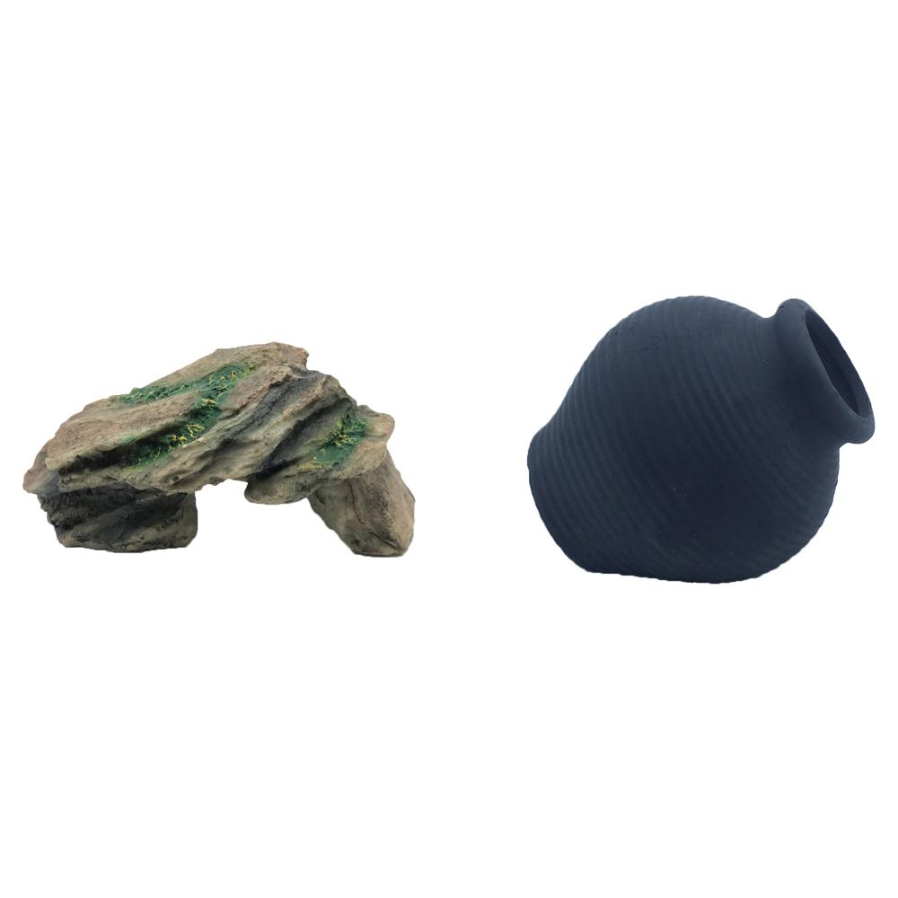 하온펫 수족관 장식용품 고인돌 1 + 디메이 블랙 TW2206, 1세트