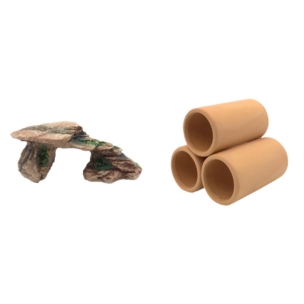 하온펫 수족관 장식용품 고인돌 3 + 황토 3구 대, 1세트