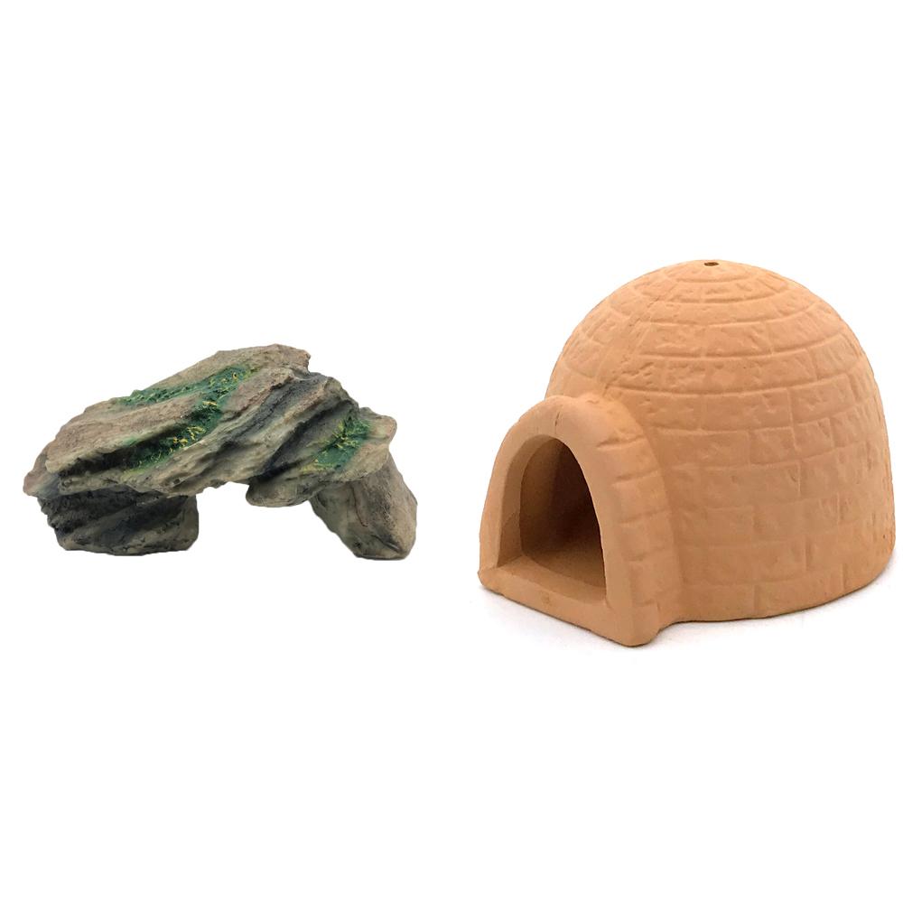 하온펫 수족관 장식용품 고인돌 1 + 이글루 놀이터, 1세트