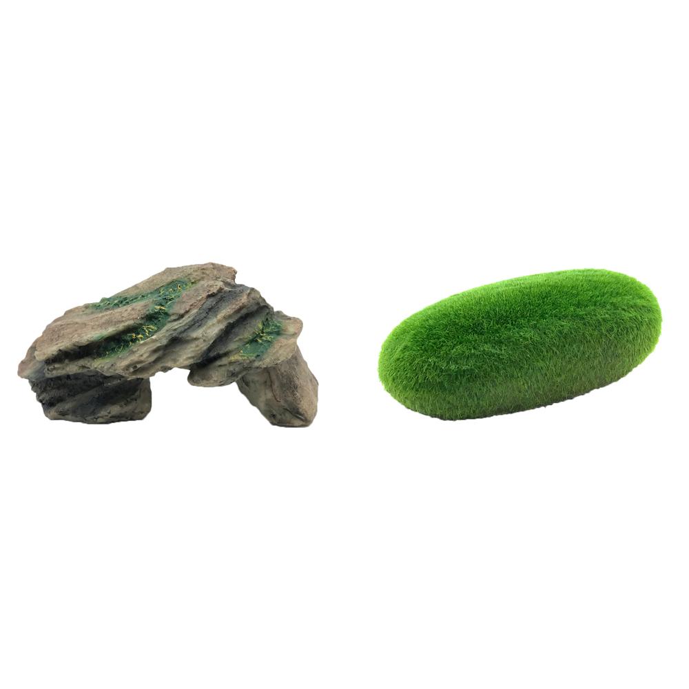하온펫 수족관 장식용품 고인돌 1 + 이끼돌, 1세트