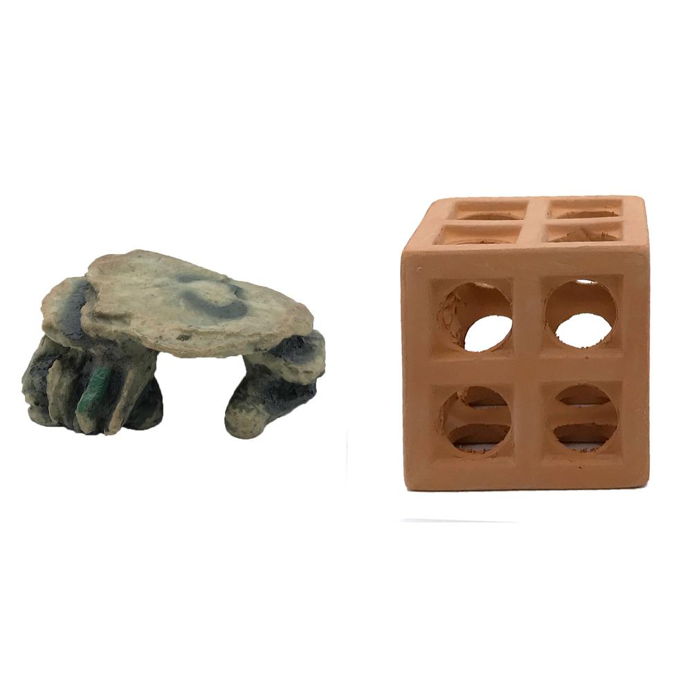 하온펫 수족관 장식용품 고인돌 2 + 큐브 놀이터, 1세트