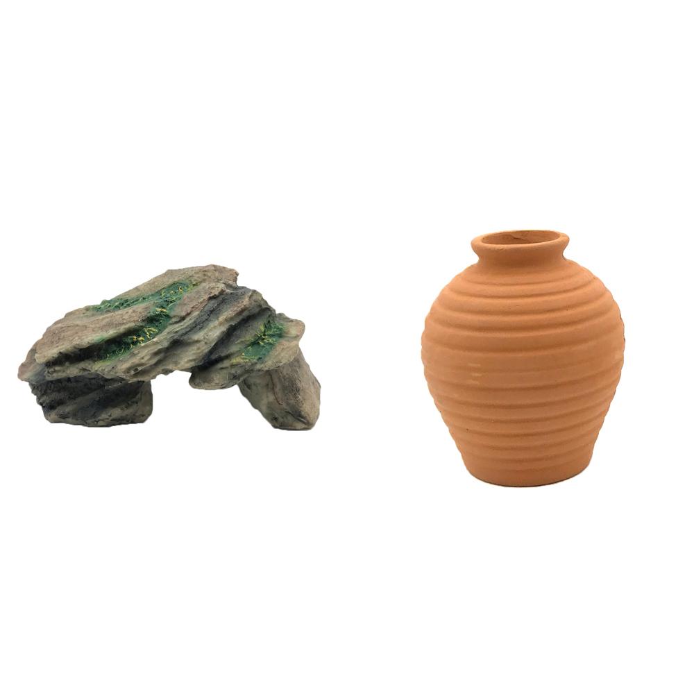 하온펫 수족관 장식용품 고인돌 1 + 항아리 대, 1세트