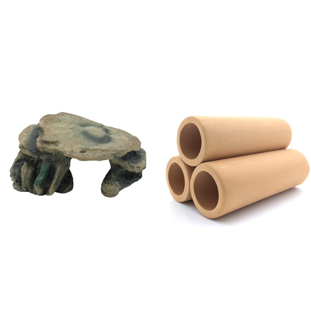 하온펫 수족관 장식용품 고인돌 2 + 황토 3구, 1세트